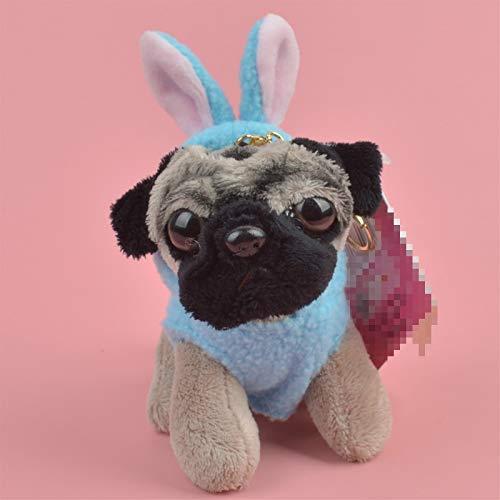 Dirgee Blaue Kaninchen Tuch Mops Hunde Tiere angefüllt Anhänger Keyring Plüschtier, Welpen Rucksack Dekoration Keychain/Schlüsselanhänger Geschenk