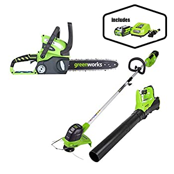 Greenworks 12-Inch 40V Cordless Chainsaw Battery Not Included 20292 with 40V Cordless String Trimmer & Blower Combo Pack STBA40B210