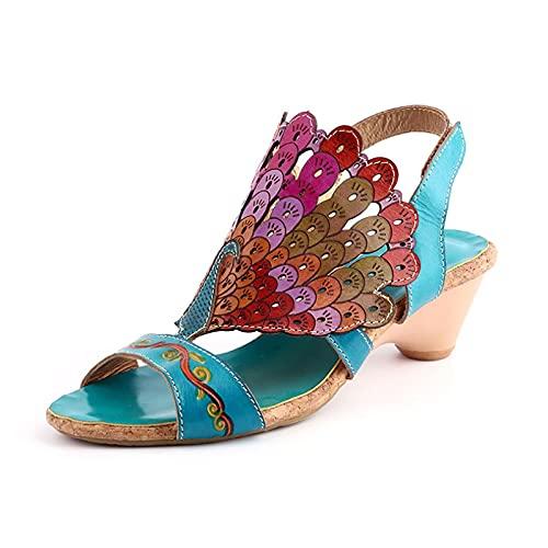 Sandalias de las mujeres de verano de 2020 de las mujeres de cuero de vaca boca de pescado étnico original de la mano de la luz del medio de tacón sandalias, color, talla 38 EU