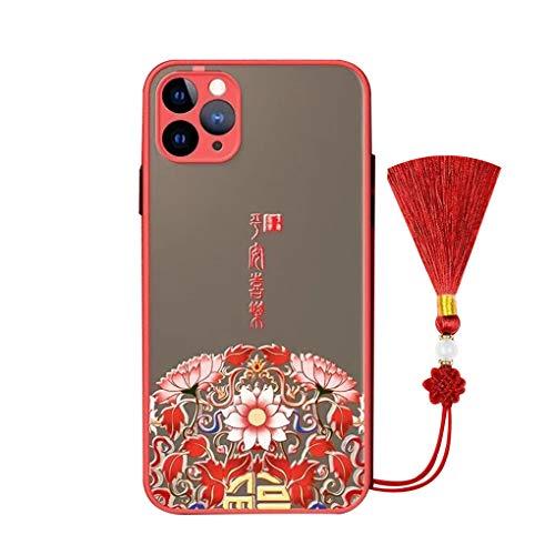 Svnaokr Funda compatible con iPhone iPhone XSMAX, color rojo festivo estilo chino, alivio de cuerpo entero de silicona, carcasa antigolpes