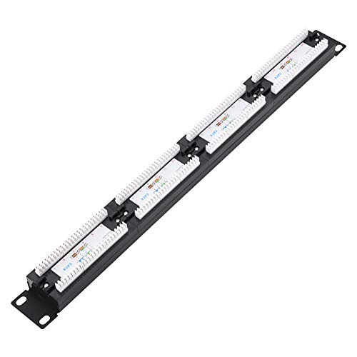 SANON Network Cable Rack Patch Panel 19 24 Port Mountable Data Patch...