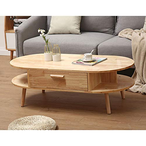 HZF Solid Wood Oval Coffee Table Simple Living Room Small Apartment Tea Table Modern Creative Table Rubber Wood End Table(Color:A)