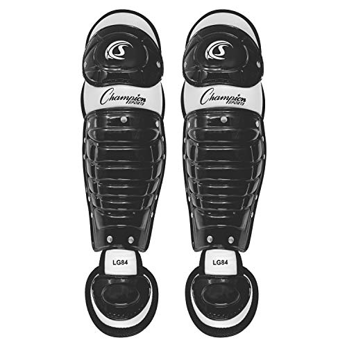 Champion Sports Baseball Catcher Leg Guards: Single Knee Shinguard for Baseball and Softball - Pair of 11' Shin Pads for Youth - Black & Gray