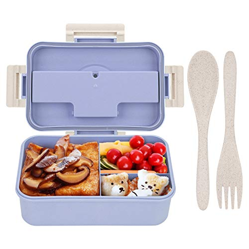 Supplim Bento Box For Kids Adults With 3 CompartmentWheat Fiber Lunch Box Leak Proof Lunch Container With Spoon Fork Blue-style1