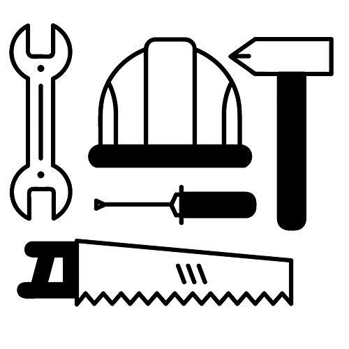 MCTYLI 16.5CM*14.4CM gereedschap hamer moersleutel zuigerzaag helmen Decal Vinly zwart/zilver auto Sticker