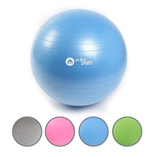 Apollo Gymnastikball 75cm, robuster Fitnessball und Sitzball Ink. Pumpe Rückenschonender Gymnastikball fürs Büro, Yoga, Pilates - Yoga-Ball fürs Workout - Farbe: Blau