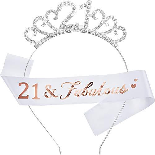 WILLBOND Alles Gute zum Geburtstag Kostüm Set,inklusiv Kristall Tiara Geburtstag Krone und Schärpe für Geburtstag Gefälligkeiten(21 Jahre Alt Stil)