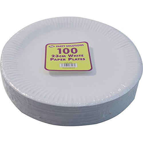 100 WHITE PAPER PLATES - 9 inch/23cm quality durable plates ideal for hot and cold food