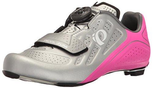 Pearl iZUMi Women's W ELITE Road V5 Cycling Shoe; Silver/Pink Glo; 40 EU/8.4 B US
