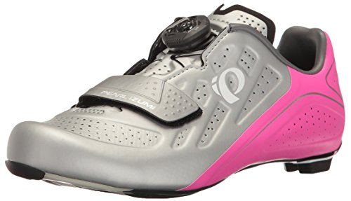 PEARL IZUMI Women's W Elite Road V5 Cycling Shoe, Silver/Pink Glo, 42 EU/10 B US