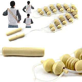 WooyMo Ball Shoulder Massager, Body Massage Roller Rope Handheld Smoothing Massage Mitt Body Massage Tool Deep Tissue Massage Roller with Wooden Ball for Body Massage
