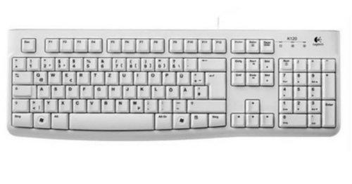 Logitech K120 (Versión extranjera) Teclado con Cable Business para Windows, Tamaño Normal, Resistante a Líquido, Barra Espaciadora Curvada, PC/Portátil, Disposición QWERTZ Alemán, color Blanco