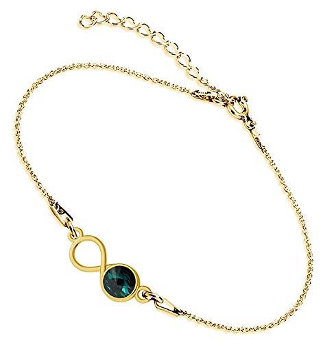 Beforya Paris Infinity - Pulsera ajustable de plata de ley 925 bañada en oro de 24 quilates con elementos originales de Swarovski Elements, fantástica pulsera para mujer con bolsa de regalo