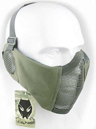 ATAIRSOFT Tactical Airsoft CS Protector Inferior Protector Malla Nylon Media máscara Facial con Cubierta para los oídos FG