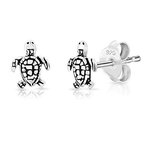 DTPsilver 925 Sterling Silver Small Turtle Fashion Studs Earrings - 5 x 6 mm