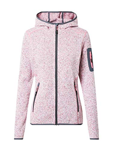 CMP – F.LLI Campagnolo Damen Knit Tech Polyester-Strickfleecejacke mit Kapuze Fleecejacke, Pink Fluo Mel-Graffite, D36