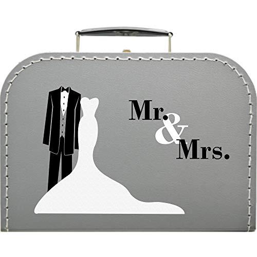 Hochzeitskoffer Mr & Mrs Frack, Pappkoffer Größe 25 x 17,5 x 8,5 cm, Farbe Silber