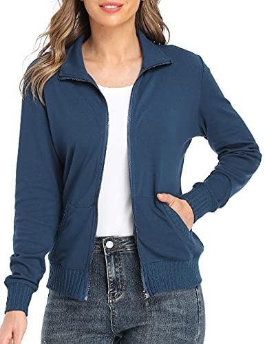 Blouson Femme Sweatshirt Manches Couleur Unie Longues Courtes Casual Sweat Zippé Sweat-Shirt avec Poches Veste de Sport avec Poches, Bleu-1311, S