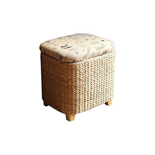 CGN Repose-pieds ronds tapissés, tabouret de pliage de siège de boîte de rangement Tissage de processus avec l'herbe, 37 * 30 * 36CM la satisfaction (taille : #1)