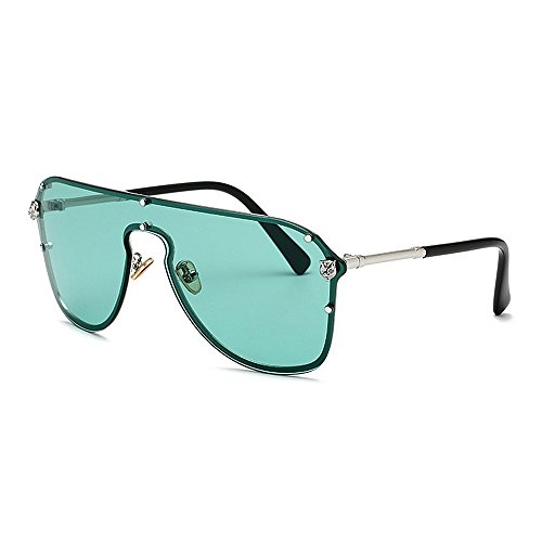 Unisex Sonnenbrille Übergroße Sonnenbrille der Dame mit Leopard-Dekorations-Metallrahmen-UVschutz-Sonnenbrille für Männer und Frauen Bunte Linse, die Sonnenbrille fährt Klassische Sonnenbrille polaris