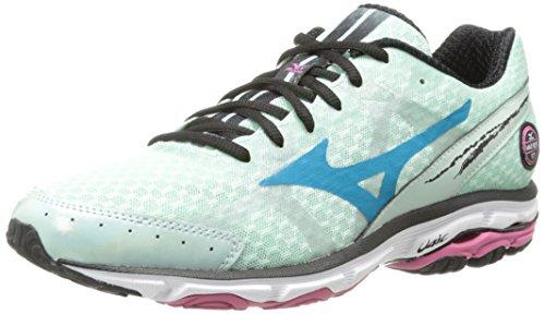 Mizuno Wave Rider 17 Running Shoe,Honeydew/Caribbean Sea/Shocking Pink,10 B US