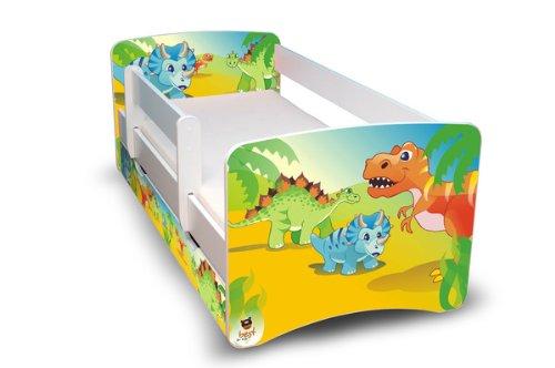 Best For Kids Kinderbett 80x160 mit Rausfallschutz + Schublade 44 Designs (Dinosaurier)