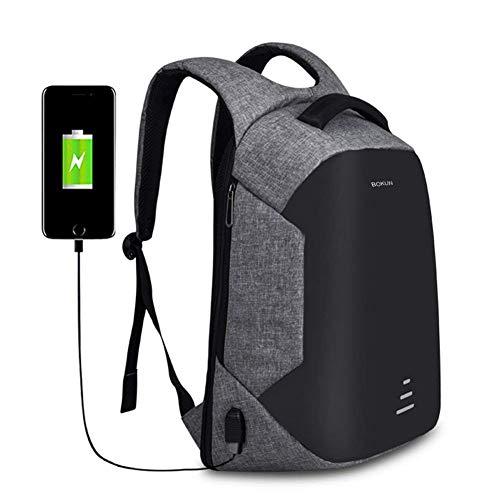 Tbag Mochila Portátil para Hombres Mochila Anti Robo para Portátil Multiusos Daypacks con Puerto de Carga USB para Mujeres Mochilas Escolares Juveniles KL-2,Gris (Gris,16