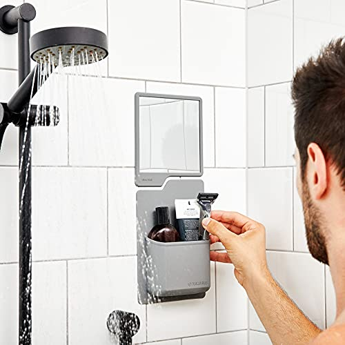 Tooletries - The James Organizer - Silicone Toiletry Holder, Shower & Bathroom Accessory - Features Silicone-Grip Technology, Removable & Reusable - Grey