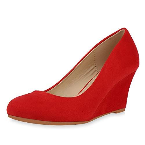SCARPE VITA Damen Keilpumps High Heel Wedges Keilabsatz Schuhe Wildleder-Optik Pumps Klassische Absatzschuhe 192593 Rot Rot Total 39