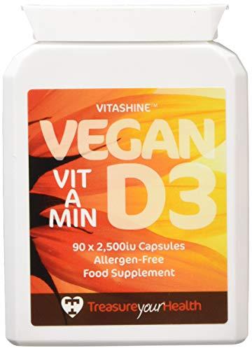 Treasure Your Health Vegan Vitashine Vitamin D3, 90 x 2,500iu Capsules, 75 g