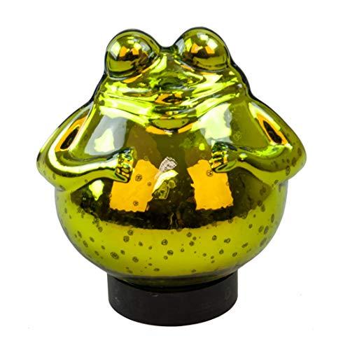 Exner Schwimm-Frosch groß Maße 15cm x 15cm in grün/glänzend aus Glas