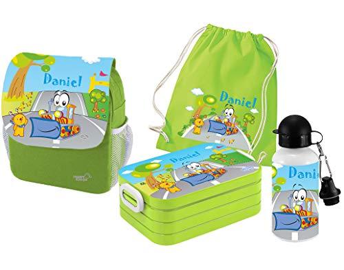 Mein Zwergenland | Personalisertes Kindergartenrucksack-Set | Kinderrucksack mit Name | Lunchbox Maxi mit Name | Turnbeutel aus Baumwolle mit Name | Personalisierte Trinkflasche | Grün | Bagger