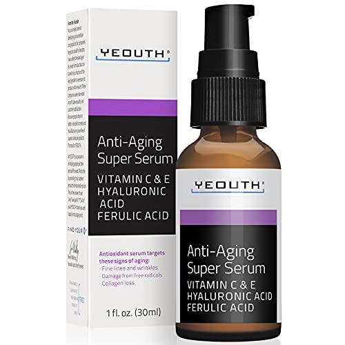 YEOUTH Súper suero antienvejecimiento, ácido ferúlico, vitamina C, vitamina E - 1oz