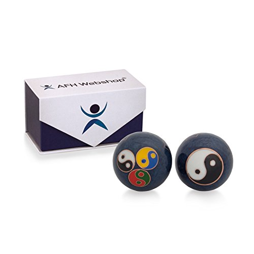 Meditation Qi-Gong-Kugeln mit Klangwerk | Klangkugeln | Yin Yang | Design Metall | Ying Yang Symbole (Ø 45 mm)