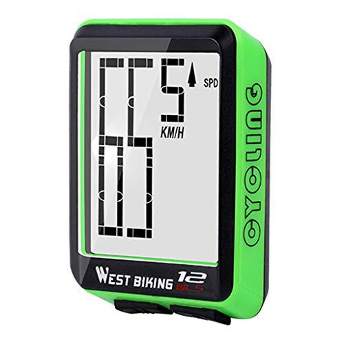 Injoyo Cronometro LCD Senza Fili Del Contachilometri Del Contachilometri Della Retroilluminazione Della Bicicletta Della Bici - verde