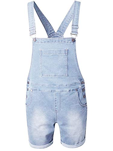 Enjoybuy Mens Bib Overall Shorts Above Knee Length Rompers Walk Dungaree Jumpsuit Relaxed Fit (Medium, 02-Sky Blue)