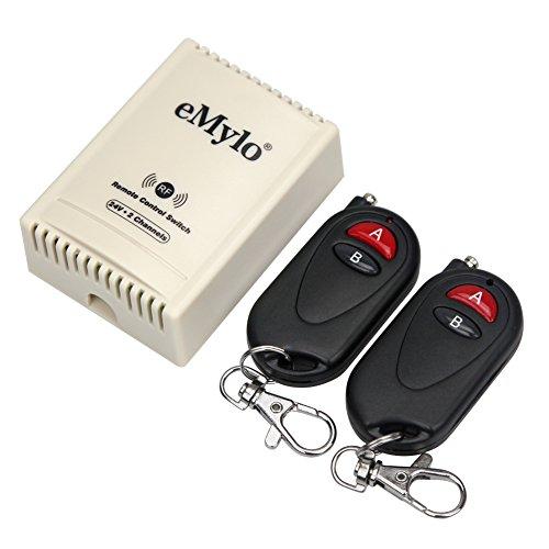 emylo® DC RF 24V 2 Kanal Schalter 433 MHz Funkfernbedienungsschalter WirelessRF Relaismodul 1 Empfänger mit 2 Sendern für Garagentor/Licht/Luftventilator/Rollladen