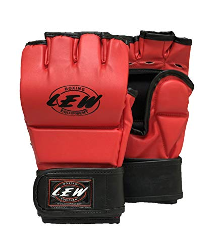 LEW Red/Black Martial Arts Training & Sparring | Palm-O Maya Hide Leather Grappling Mitts |Good for Kickboxing, Muay Thai, Cage Fighting, Punching Bag MMA Gloves