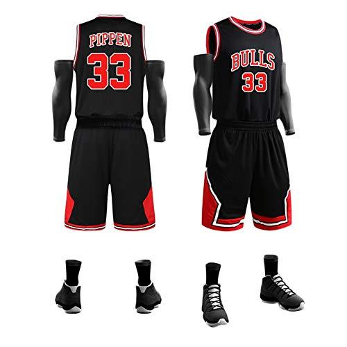 LDFN Basketballtrikot Sommer Herren-Basketball-Trikot, Scottie Pippen No. 33, Atmungsaktiv Und Schnelltrocknend Polyester-Gewebe Gestickt Sport-T-Shirt S-XXL (Color : Black, Size : M)