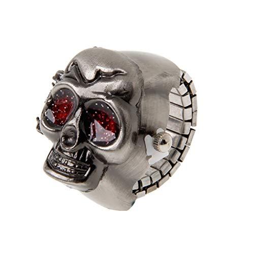 Leiouser - Reloj de pulsera de cuarzo elástico con diseño de calavera
