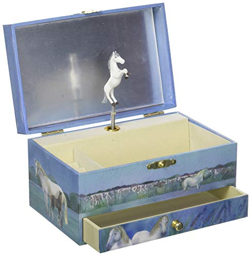 Trousselier - Pferd aus der Camargue - Musikschmuckdose - Spieluhr - Ideales Geschenk für junge Mädchen - Phosphoreszierend - Leuchtet im Dunkeln - Musik Wiegenlied von Schubert - Farbe blau