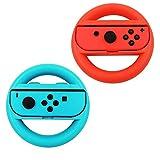 Volante Nintendo Switch,Joy-Con Racing Game Steering Wheel Controladores Handle Grips para Mario Kart (Azul y Rojo)