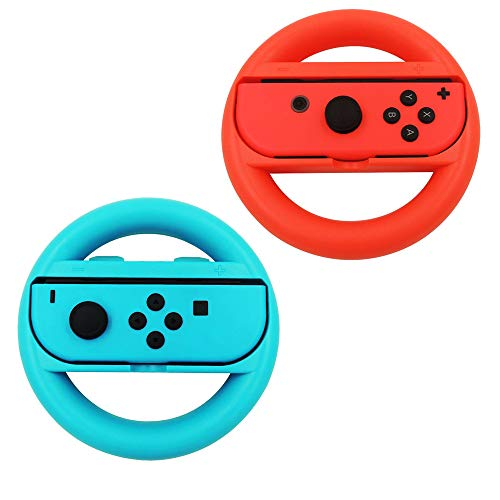 Volante Nintendo Switch,Joy-Con Racing Game Steering Wheel Controladores Handle Grips para Mario Kart (Azul y Rojo)