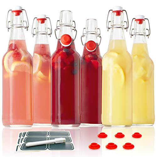Otis Classic Glass Bottles with Caps - Set of 6 Clear Swing Top Glass Bottles w/ Ceramic Lids for Storing Kombucha, Liquor, Syrup, Wine, Kefir & Beer - Bonus Marker & Labels Included, 16oz