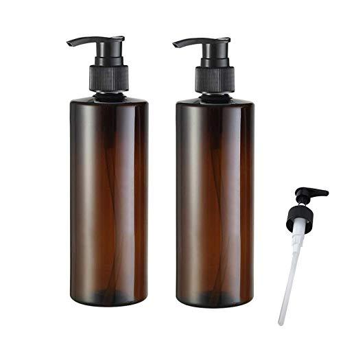 2 Stück Pumpspender Leer Pumpflasche 500ml Nachfüllbar Leere Flaschen Nachfüllbar Seifenspender Handgel Pumpe Flache Schulter Gelspender Reise Hygiene Reinigung Flüssigkeiten Flasche für Küche Außen