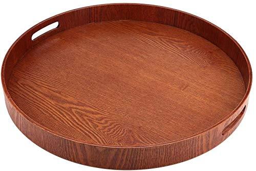 木製 トレー ランチトレー お盆トレイ トレー お茶盆 皿 カフェトレー 丸型トレイ 和風 滑らか 持ちやすい 耐久性 高さ5cm 直径50cm