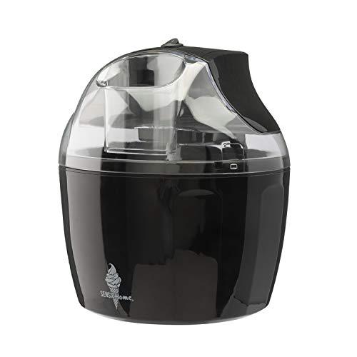 Máquina de helados Sensio Home - Máquina de sorbetes para helados Máquina de yogurt congelado Paleta mezcladora desmontable - Fácil de operar - Incluye recetas extra de libros electrónicos (Negro)
