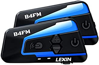 LEXIN 2pcs B4FM Motorcycle Bluetooth Intercom with FM Radio, Helmet Bluetooth Headset With Noise Cancellation Up to 4 Riders, Universal Off-road Snowmobile Communication Systems