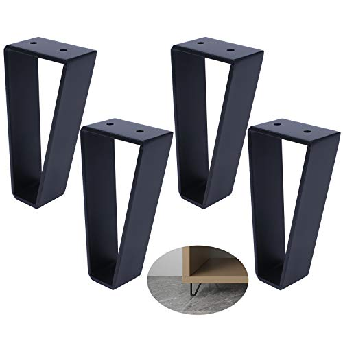 Osring 6 Inch Trapezoid Furniture Legs 4pcs, Solid Steel Furniture Hairpin Leg for Side Table, TV Stand and Cabinet, Black