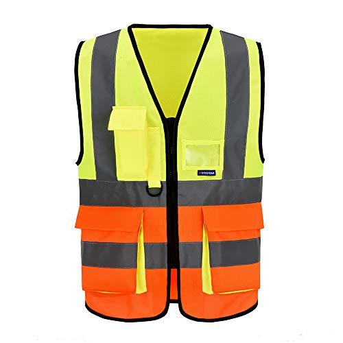 Mehrere Taschen,Mehrere farben, Unisex hochsichtbare Warnweste Hohe Sichtbarkeit Warnweste Reflektierende Weste Reißverschluss EN ISO 20471 (3XL, G&O)